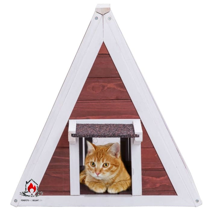 Weatherproof Red A-Frame Wooden Cat House Furniture Shelter with Eave - Bedroom > Cat and Dog Beds