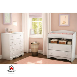 White 4 Drawer Bedroom Chest with Wooden Knobs - Bedroom > Nightstand and Dressers