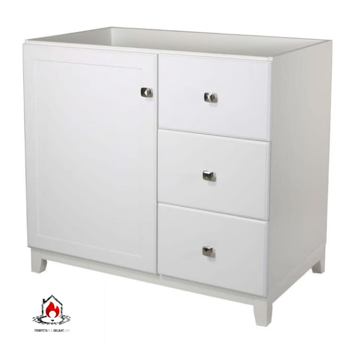 White Bathroom Vanity Cabinet 30 x 21 inch with Nickel Hardware - Bathroom > Bathroom Vanities