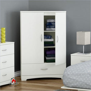 White Clothes Storage Wardrobe Cabinet Armoire with Bottom Drawer - Bedroom > Wardrobe & Armoire