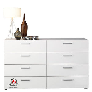 White Modern Bedroom 8-Drawer Double Dresser - Bedroom > Nightstand and Dressers