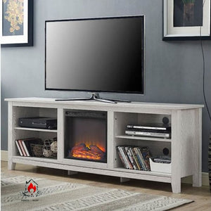 White Wash Wood 70-inch TV Stand Fireplace Space Heater - Accents > Electric Fireplaces