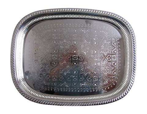 Vintage Styled Handmade Moroccan Silver Plated Engraved Tea Tray, Large, 18x14 Inches - Marrakesh Gardens