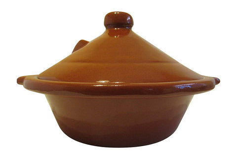 "Handmade Authentic Moroccan Berber Ceramic Cooking and Serving Tagine, Large 12"" D x 9 1/2""H - Marrakesh Gardens"