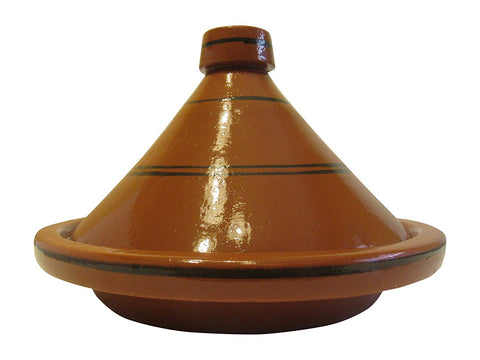 "Handmade Authentic Moroccan Ceramic Cooking and Serving Tagine, Lead Free, Brown with Black Stripes, Small 10 1/2 "" Diameter x 9 "" H - Marrakesh Gardens"