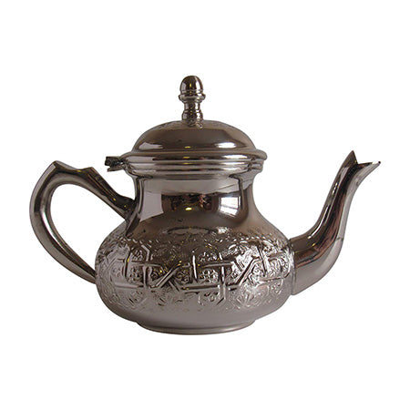 Vintage Styled Small Handmade Moroccan Silver Plated Teapot with Built In Tea Infuser Filter, 16 Ounces