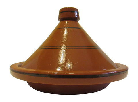 "Handmade Authentic Moroccan Ceramic Cooking and Serving Tagine, Lead Free, Brown with Black Stripes, Large 14"" Diameter x 11""H - Marrakesh"
