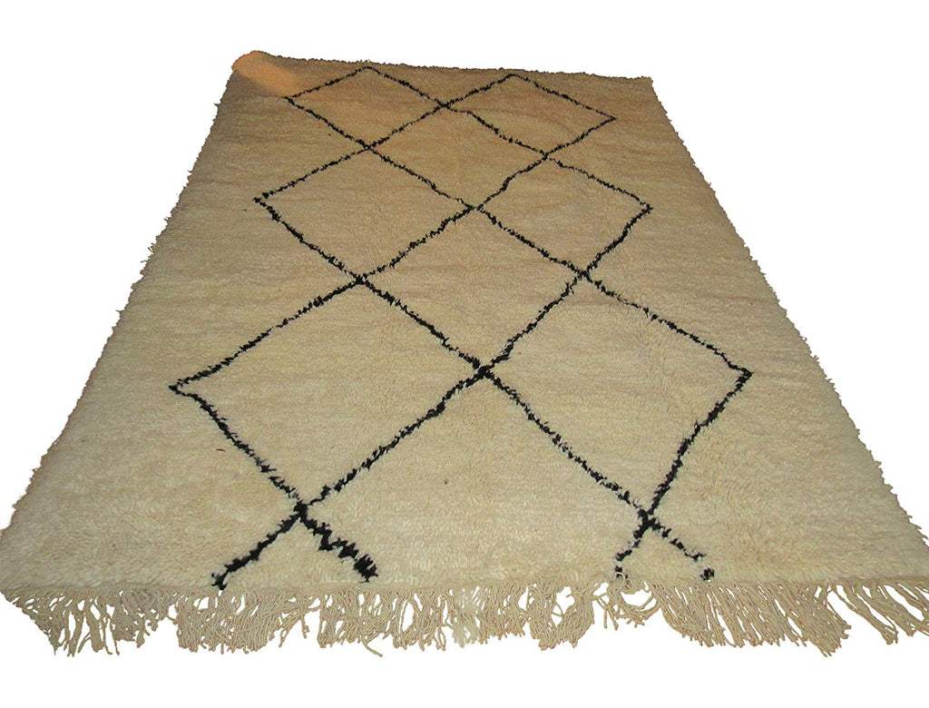 Authentic Moroccan Beni Ourain Berber Oriental Carpet, 100% Handwoven Naturally Dyed Tribal Wool Rug, 4.2x6.8 Feet