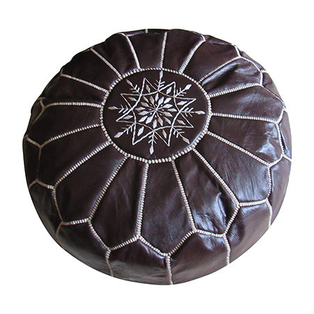Authentic Moroccan Handmade Pouf,Black - Marrakesh Gardens