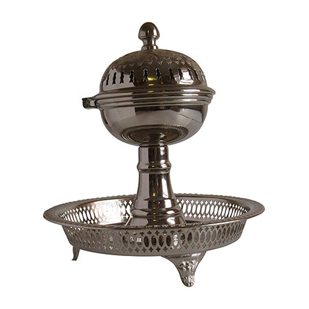 "Vintage Styled Handmade Moroccan Silver Plated Engraved Incense Burner with Ash Catcher, 11x10"" - Marrakesh Gardens"