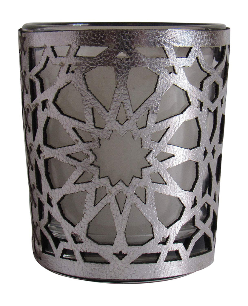 Moroccan Amber Scented Candle, Silver, 6 oz - Marrakesh Gardens