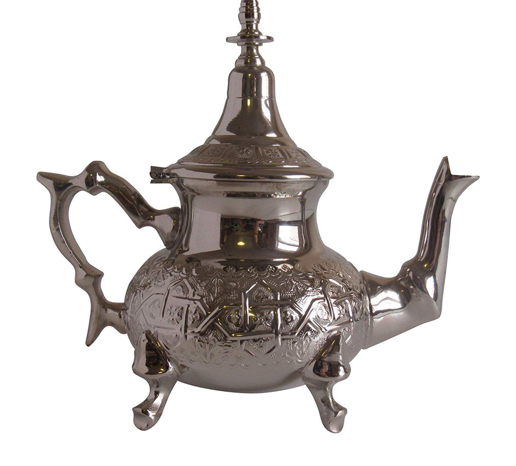 Vintage Styled Handmade Moroccan Silver Plated Teapot with Built In Tea Infuser Filter, 25 Ounces