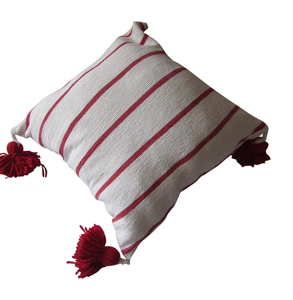 Marrakesh Gardens Authentic Moroccan Handwoven Pom Pom Pillow Cover, Cotton Bohemian Throw Pillow Case with Tassels, 18x18 Inches, Red and Cream - Marrakesh Gardens