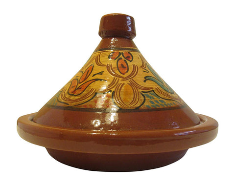 "Handmade Authentic Moroccan Ceramic Cooking and Serving Tagine, Lead Free, Brown with Black Stripes, Medium 12"" Diameter x 10 1/2 "" H - Marrakesh Gardens"
