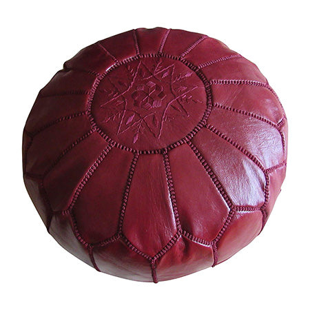 Authentic Moroccan Handmade Pouf, Red. - Marrakesh Gardens