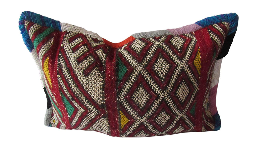 Marrakesh Gardens Authentic Berber Moroccan Handwoven Bolster Pillow, Kilim Wool Rug Bohemian Throw Pillow with Fringe