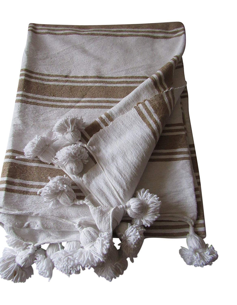 Handcraft Collection Handspun Moroccan Pom Pom Throw Blanket White with Grey Stripes, 100% Berber Wool, Handmade by Skilled Craftspeople,