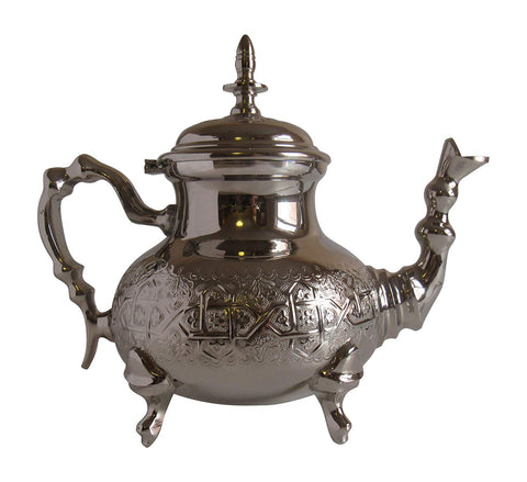Vintage Styled Handmade Moroccan Silver Plated Teapot with Built In Tea Infuser Filter, 50 ounces - Marrakesh Gardens