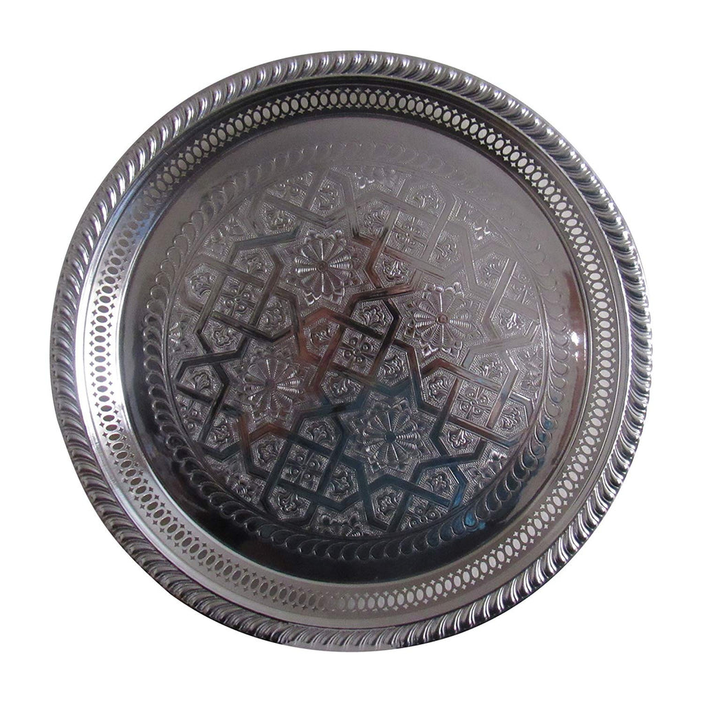 "Vintage Styled Handmade Moroccan Silver Plated Engraved Round Tea Tray, 13"" Diameter - Marrakesh Gardens"
