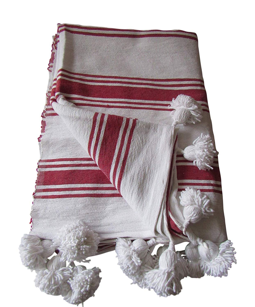Handcraft Collection Handspun Moroccan Pom Pom Throw Blanket White with Red Stripes, 100% Berber Wool, Handmade by Skilled Craftspeople,