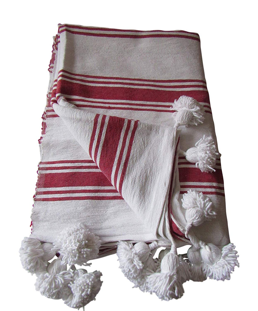 Handcraft Collection Handspun Moroccan Pom Pom Throw Blanket White with Red Stripes, 100% Berber Wool. - Marrakesh Gardens