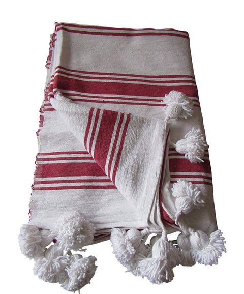 Handcraft Collection Handspun Moroccan Pom Pom Throw Blanket White with Red Stripes, 100% Berber Wool, Handmade by Skilled Craftspeople, - Marrakesh Gardens