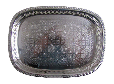 Vintage Styled Handmade Moroccan Silver Plated Rectangle Engraved Tea Tray, Medium 15.4x11.2 Inches
