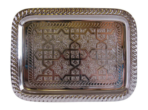 Vintage Styled Handmade Moroccan Silver Plated Rectangular Engraved Tea Tray, Small, 11.3x8.5""