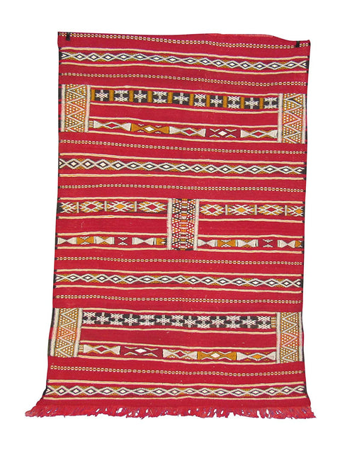 Moroccan Kilim Berber Oriental Carpet – 100% Handwoven Naturally Dyed Tapestry Woven Tribal Wool Rug, 6.10 X 4.6 Feet - Marrakesh Gardens