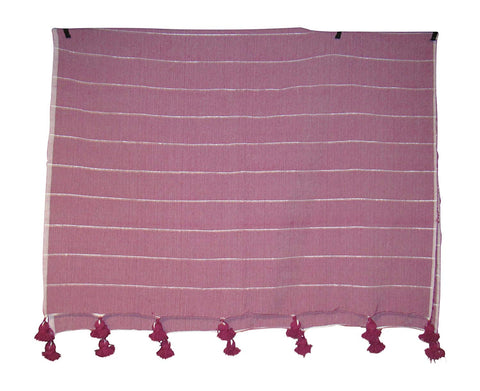 Handcraft Collection Handspun Moroccan Pom Pom Throw Blanket in Red Pink with White Stripes, 100% Berber Wool, Handmade by Skilled Craftspeople,