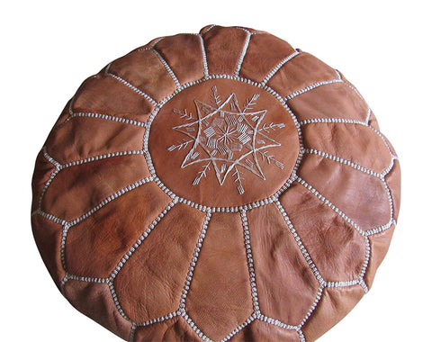 Authentic Unstuffed Handmade Pouf,Brown - Marrakesh Gardens