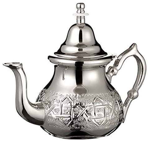 Imported Handmade Moroccan Teapot with Built In Tea Infuser Filter, Bring Home a Beautifully Functional Near East Tradition, 42 OZ. - Marrakesh Gardens