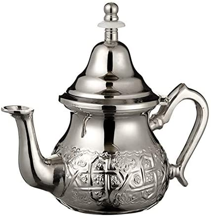 Imported Handmade Moroccan Teapot with Built In Tea Infuser Filter, Bring Home a Beautifully Functional Near East Tradition, 16 OZ. - Marrakesh Gardens