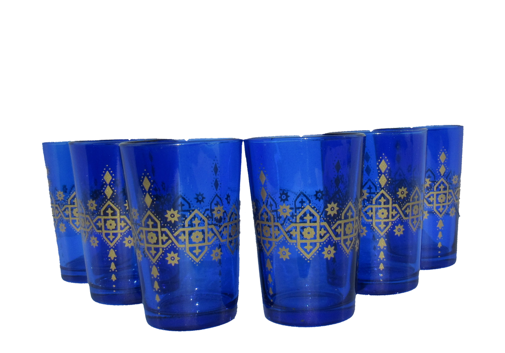 Moroccan Tea Glasses, Moroccan Drinking Glasses – Pack Of 6 – Unique and Stylish – Handmade Traditional Glass Set – For Tea, Coffee, Juice, Water, Etc. - Marrakesh Gardens
