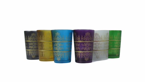 Multicolor Moroccan Tea Glasses, Moroccan Drinking Glasses – Pack Of 6 – Unique and Stylish – Handmade Traditional Glass Set – For Tea, Coffee, Juice, Water, Etc. - Marrakesh Gardens