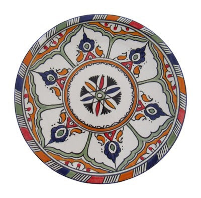 "Authentic Handmade Moroccan Moorish Inspired Round Serving Platter Tray, Bring Home a Beautifully Functional Near East Tradition, 8"" Diameter - Marrakesh Gardens"