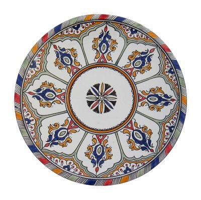 "Authentic Handmade Moroccan Moorish Inspired Round Serving Platter Tray, Bring Home a Beautifully Functional Near East Tradition, 10"" Diameter - Marrakesh Gardens"