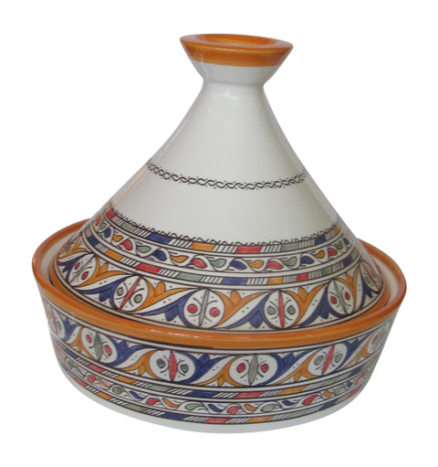 "Handmade Authentic Moroccan Moorish Style Ceramic Serving Tagine, Lead Free, Medium 8 1/2"" Diameter x 9 1/2""H - Marrakesh Gardens"