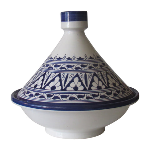 "Handmade Authentic Moroccan Berber Style Ceramic Serving Tagine, Serve Delicious Meals the Traditional Morocco Way, Lead Free, Medium 10"" Diameter x 10 ""H - Marrakesh Gardens"