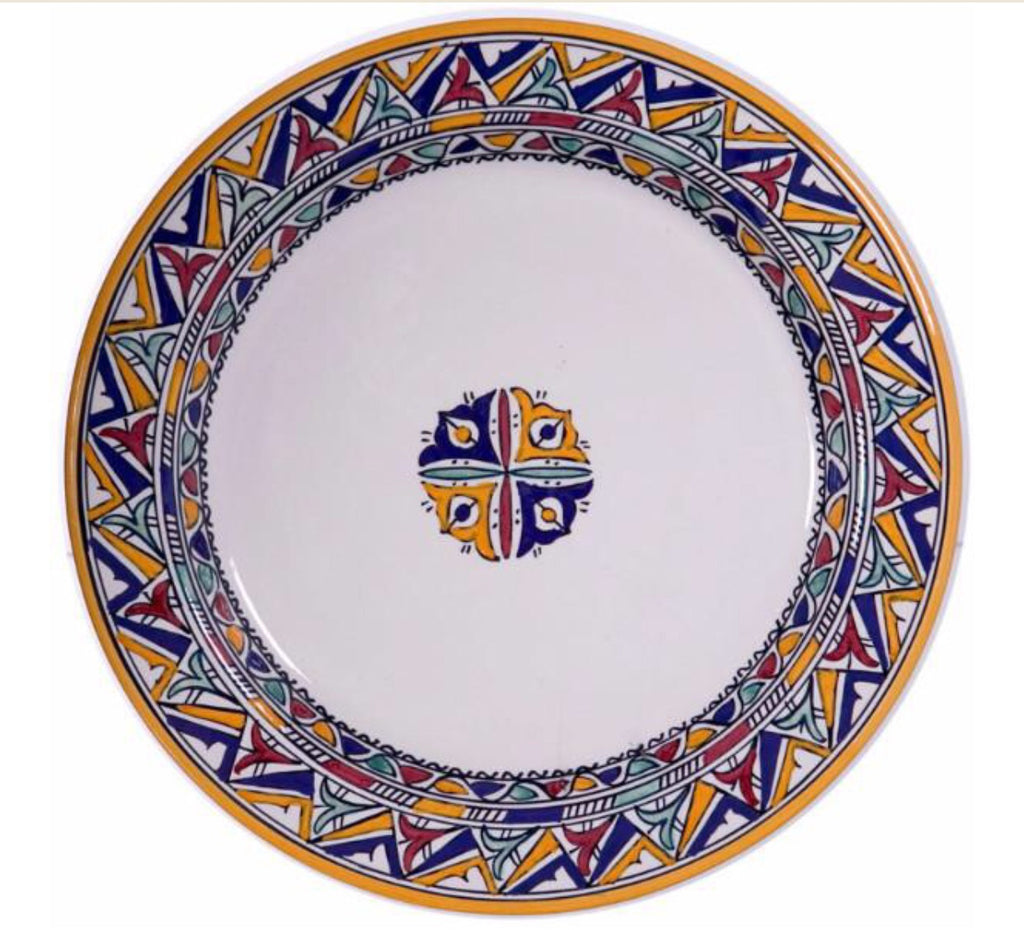 "Authentic Handmade Moroccan Berber Inspired Round Serving Platter Tray, Bring Home a Beautifully Functional Near East Tradition, 12"" Diameter - Marrakesh Gardens"