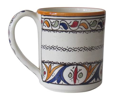 Authentic Design Handmade Moorish Ceramic Mug, Premium Artisinal Pottery from Morocco, Lead Free, Perfect Cup for Coffee, Tea, Cocoa and Soup - Marrakesh Gardens
