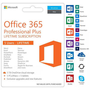 LIFETIME Microsoft Office 365 and Office 2019 PROFESSIONAL