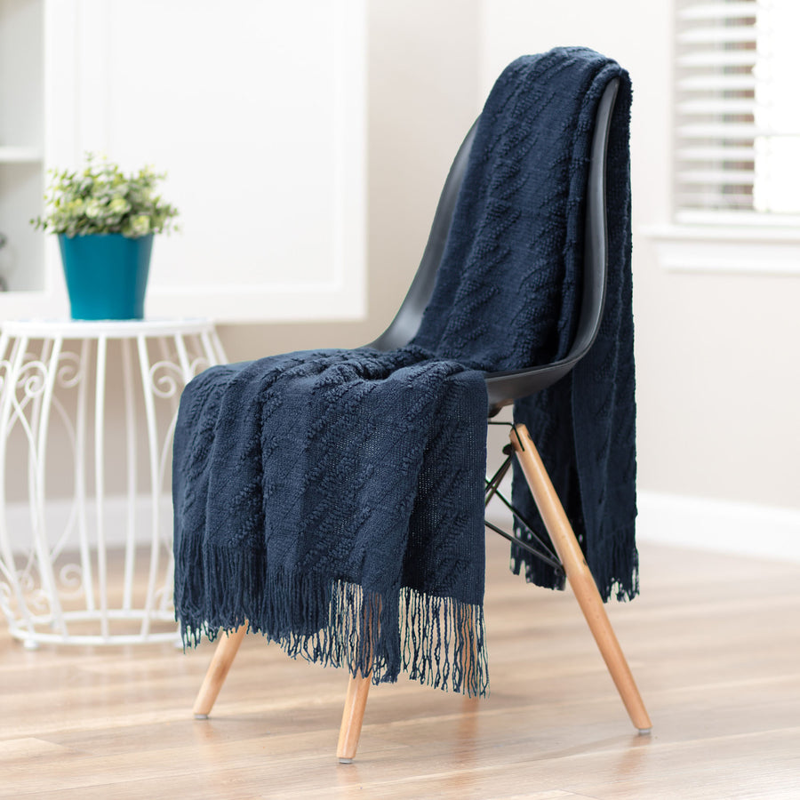 Bevel Carbon Blue Throw