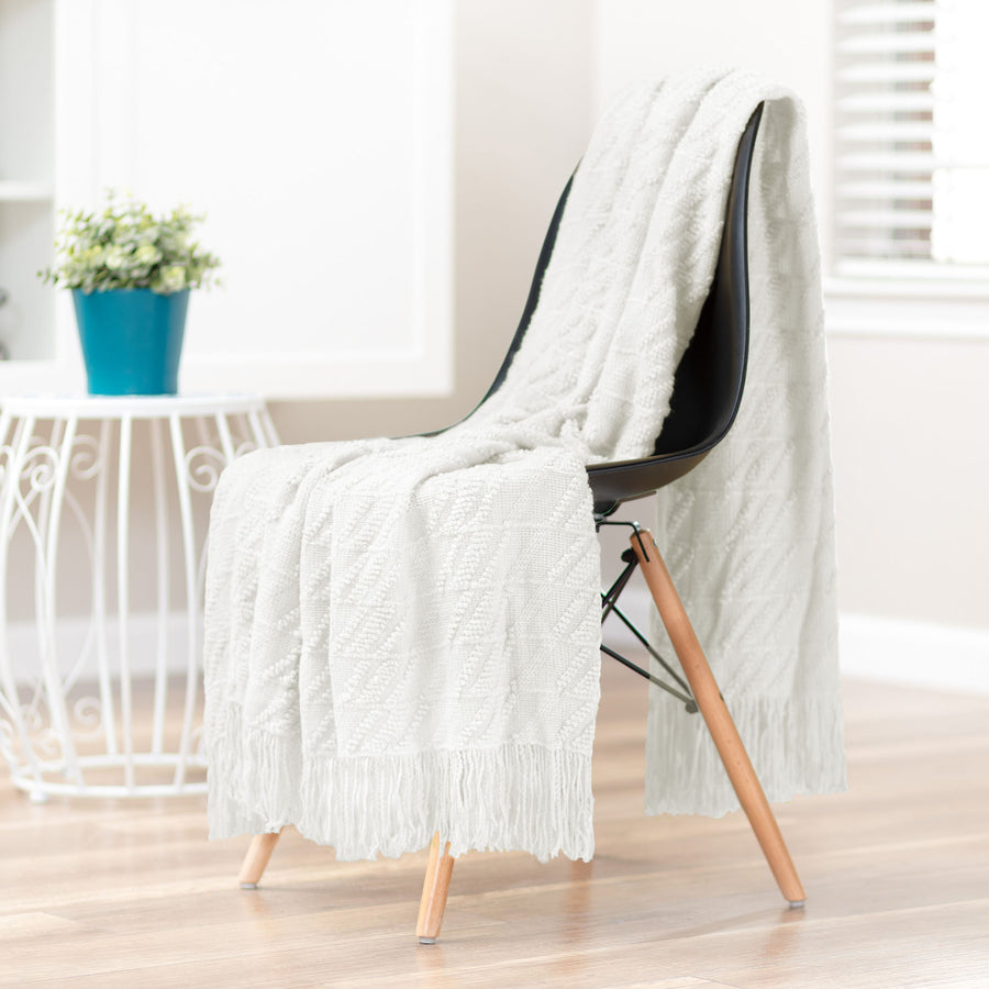 Bevel White Cloud Throw