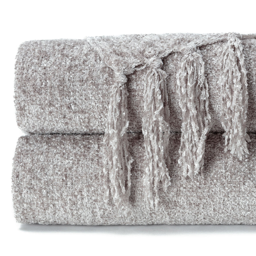 Chenille Taupe Throw