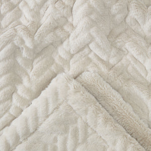 Fur Embossed Alabaster Throw