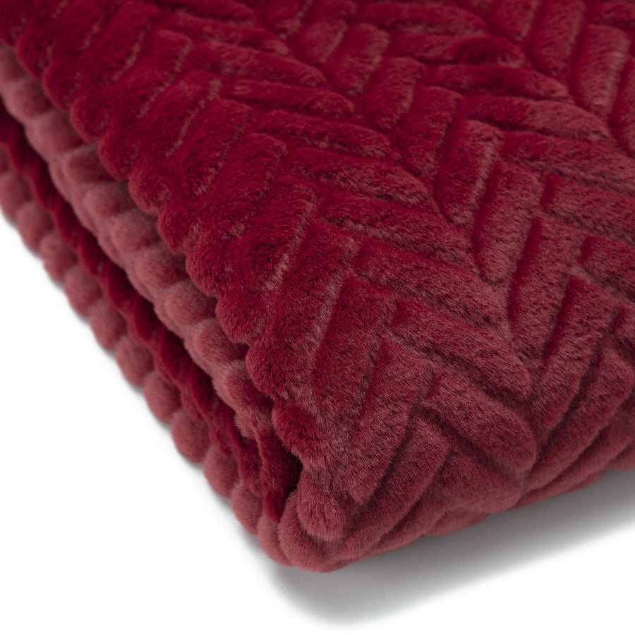 Fur Embossed Maroon Throw