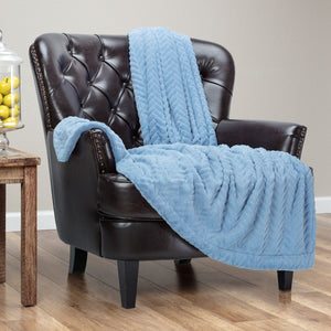 Fur Embossed Sky Blue Throw