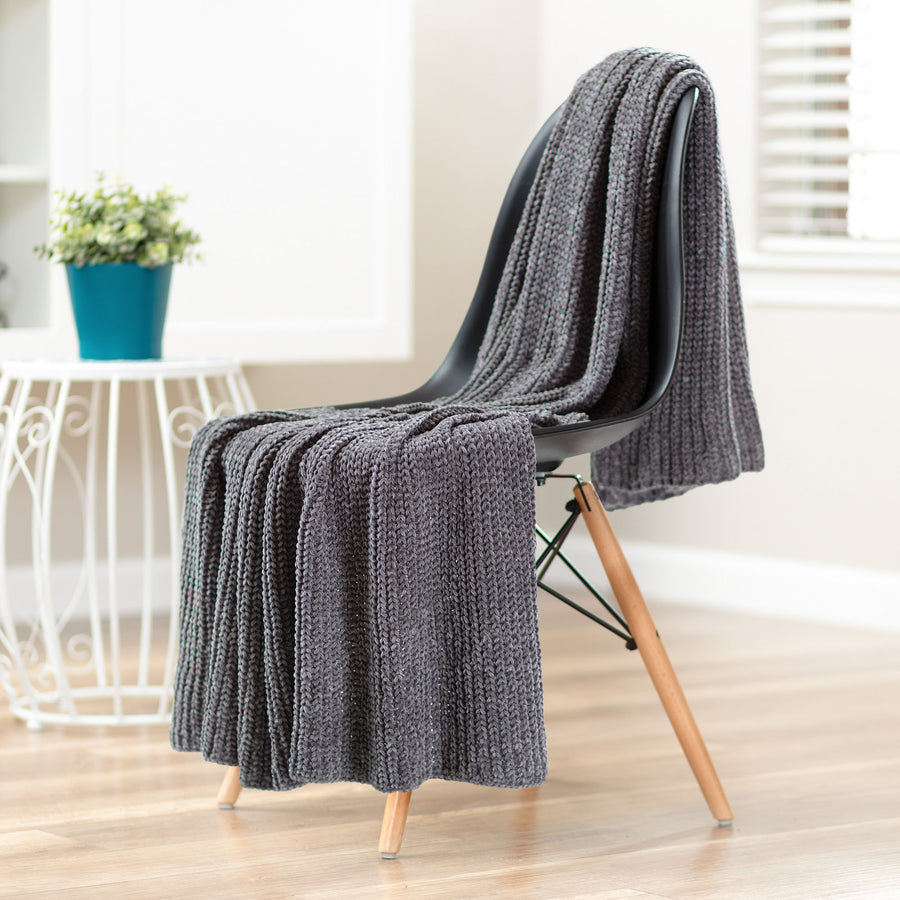 Knit Gray Throw