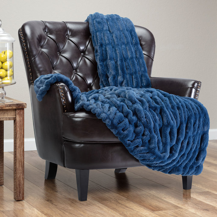 Ruched Blue Throw